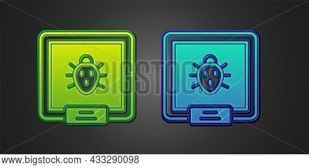 Green And Blue Colorado Beetle Icon Isolated On Black Background. Vector