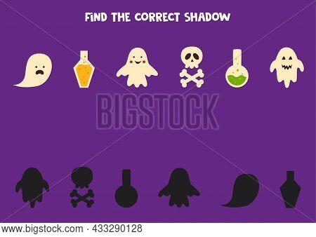 Find Shadows Of Halloween Elements. Halloween Worksheet. Educational Logical Game For Kids.