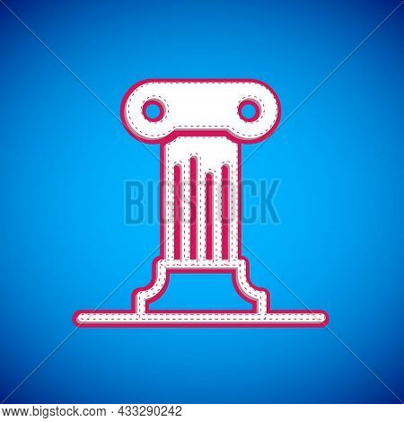 White Law Pillar Icon Isolated On Blue Background. Ancient Column. Vector