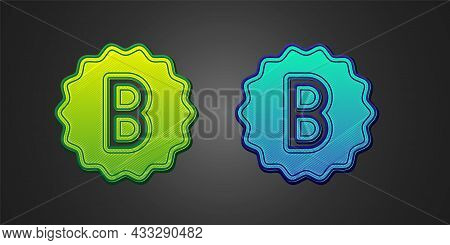 Green And Blue Exam Paper With Incorrect Answers Survey Icon Isolated On Black Background. Bad Mark