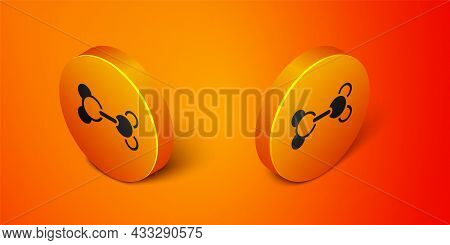 Isometric Molecule Icon Isolated On Orange Background. Structure Of Molecules In Chemistry, Science