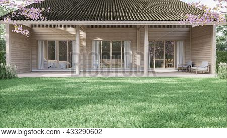Large Green Lawn With Small Wooden House Background 3d Render Surrounded With Green Garden And Pink