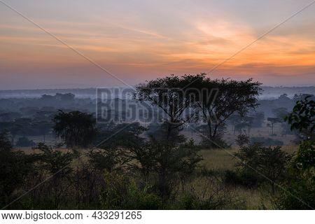 Panoramic Image, Sunrise At National Parks Of Uganda