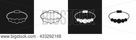 Set Bracelet Jewelry Icon Isolated On Black And White Background. Bangle Sign. Vector