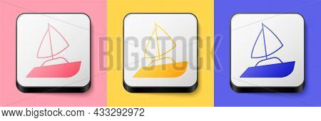 Isometric Yacht Sailboat Or Sailing Ship Icon Isolated On Pink, Yellow And Blue Background. Sail Boa