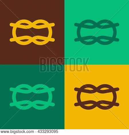Pop Art Nautical Rope Knots Icon Isolated On Color Background. Rope Tied In A Knot. Vector