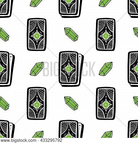 Magic Crystals And Tarot Cards Piles Vector Seamless Pattern Background For Magic, Witchcraft, Psych