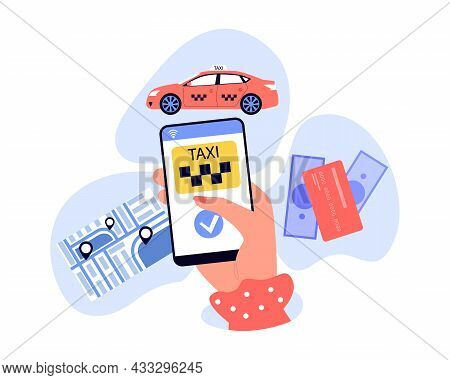 Female Hand Holding Smartphone With Taxi Mobile App. Person Ordering Cab, Map With Location Pins, Pa