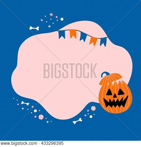 Halloween. Vector Template With Cute Character For Your Text Or Photo. Illustration Of Pumpkin With