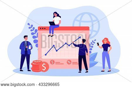 Team Of Business Cartoon Characters Planning Company Budget. Office People With Business Plan Flat V
