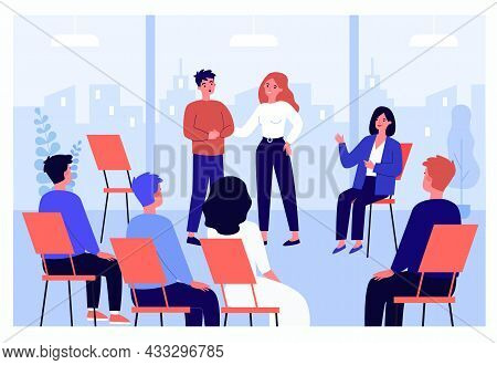 Cartoon Man Sharing Problems In Group Therapy. People Sitting In Circle And Consulting With Therapis