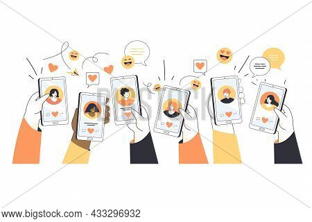Hands Of Young People Holding Phones With Dating Profiles. Searching For Love Online, Flirting And S
