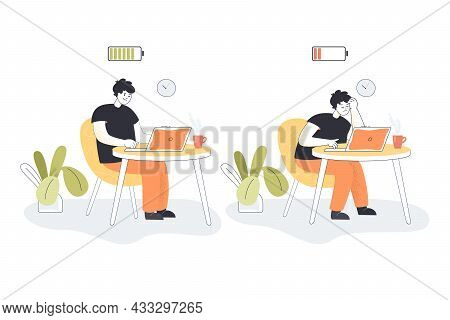 Cartoon Employee Becoming Exhausted In Office. Happy And Tired Or Bored Male Worker Working On Compu