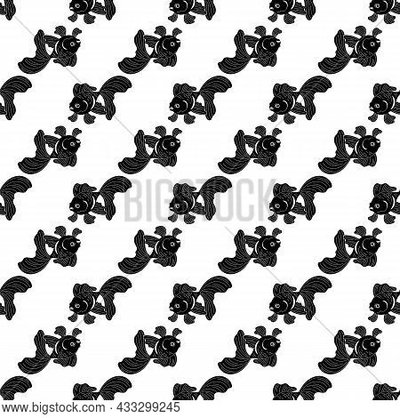 Exotic Goldfish Pattern Seamless Background Texture Repeat Wallpaper Geometric Vector