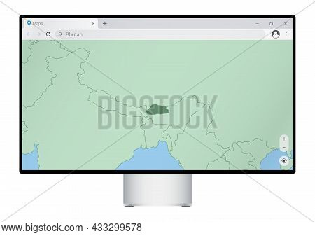 Computer Monitor With Map Of Bhutan In Browser, Search For The Country Of Bhutan On The Web Mapping