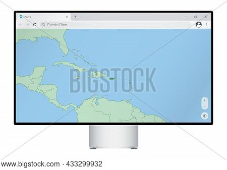 Computer Monitor With Map Of Puerto Rico In Browser, Search For The Country Of Puerto Rico On The We