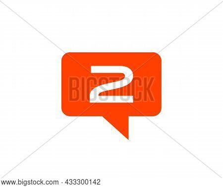 Chat Logo On 2 Letter Concept. Letter 2 Chat Logo. Letter 2 Communication Logo Design Template