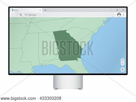 Computer Monitor With Map Of Georgia In Browser, Search For The Country Of Georgia On The Web Mappin