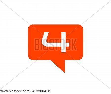 Chat Logo On 4 Letter Concept. Letter 4 Chat Logo. Letter 4 Communication Logo Design Template
