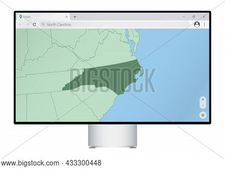 Computer Monitor With Map Of North Carolina In Browser, Search For The Country Of North Carolina On
