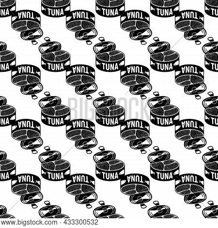 Open Tuna Can Pattern Seamless Background Texture Repeat Wallpaper Geometric Vector