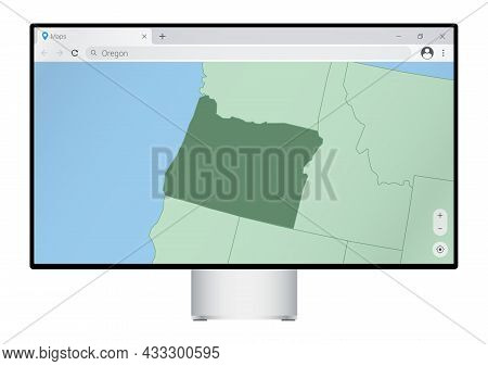 Computer Monitor With Map Of Oregon In Browser, Search For The Country Of Oregon On The Web Mapping