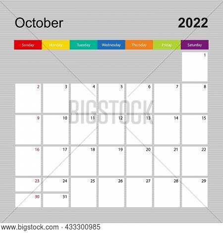 Calendar Page For October 2022, Wall Planner With Colorful Design. Week Starts On Sunday. Vector Cal