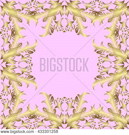 Seamless Pattern On Neutral, Brown And Yellow Colors With Golden Elements. Traditional Orient Orname