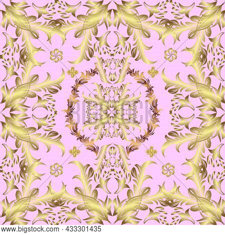 Seamless Golden Texture Curls. Oriental Style Arabesques. Brilliant Lace, Stylized Flowers, Paisley.