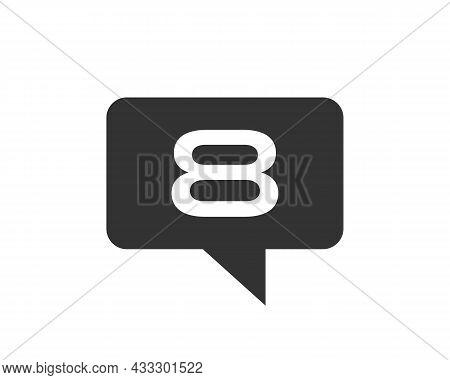 Chat Logo On 8 Letter Concept. Letter 8 Chat Logo. Letter 8 Communication Logo Design Template