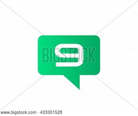 Chat Logo On 9 Letter Concept. Letter 9 Chat Logo. Letter 9 Communication Logo Design Template