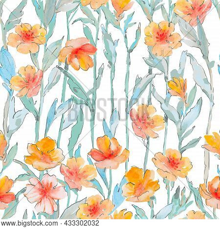 Floral Seamless Pattern. Drawing Of A Pattern Of Green Leaves And Flowers On A White Background