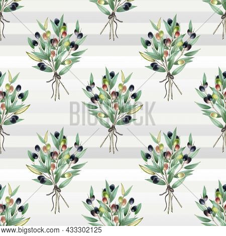 Olives Seamless Pattern. Olive Branches Set With Olives. Veagn Food. Seamless Pattern For Simple Bac