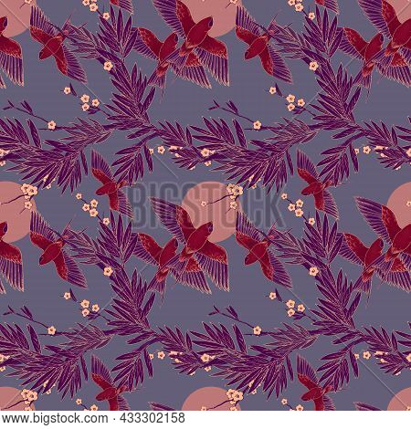 Seamless Pattern In Chinoiserie Style With Birds And Flowers. Bloom. Chinoiserie Inspired. Vintage F