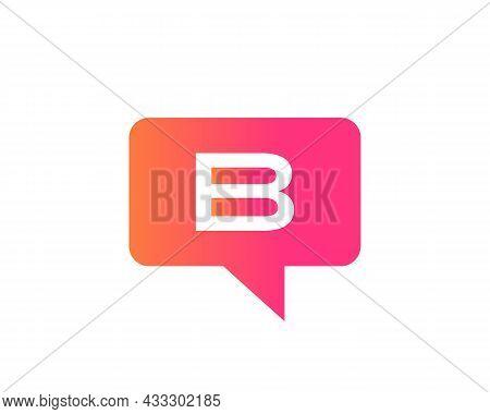 Chat Logo On B Letter Concept. Letter B Chat Logo. B Letter With Speech Bubble Logo. Letter B Commun