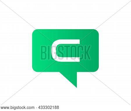 Chat Logo On C Letter Concept. Letter C Chat Logo. C Letter With Speech Bubble Logo. Letter C Commun