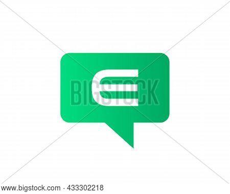 Chat Logo On E Letter Concept. Letter E Chat Logo. E Letter With Speech Bubble Logo. Letter E Commun