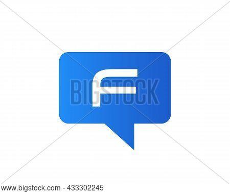Chat Logo On F Letter Concept. F Letter With Speech Bubble Logo. Letter F Communication Logo Design