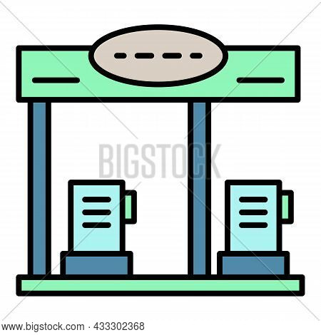 Petrol Station Icon. Outline Petrol Station Vector Icon Color Flat Isolated