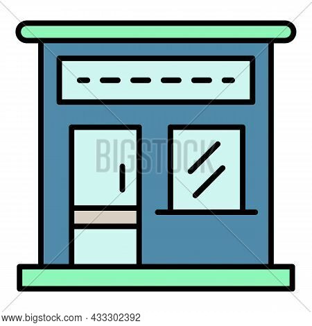 Petrol Station Market Icon. Outline Petrol Station Market Vector Icon Color Flat Isolated