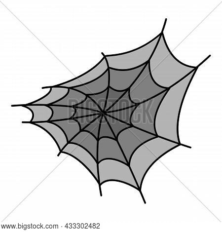 Spider Web Icon. Outline Spider Web Vector Icon Color Flat Isolated