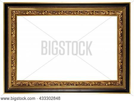 Golden Classic Old Vintage Wooden Mockup Canvas Frame Isolated On White Background. Blank Beautiful