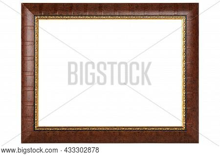 Brown Classic Old Vintage Wooden Mockup Canvas Frame Isolated On White Background. Blank Beautiful A