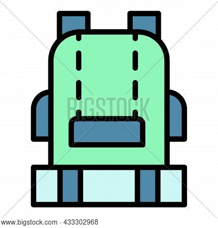 Camping Backpack Icon. Outline Camping Backpack Vector Icon Color Flat Isolated