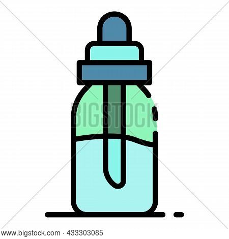Electric Cigarette Liquid Bottle Icon. Outline Electric Cigarette Liquid Bottle Vector Icon Color Fl