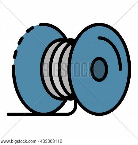 Metal Cable Coil Icon. Outline Metal Cable Coil Vector Icon Color Flat Isolated