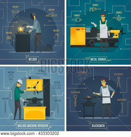 Blacksmith Metalworking 4 Flat Icons Square Composition With Infographic Elements Of Melting Welding