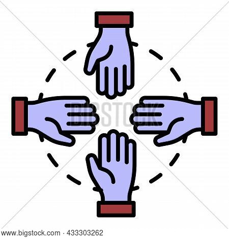 Hand Teamwork Icon. Outline Hand Teamwork Vector Icon Color Flat Isolated
