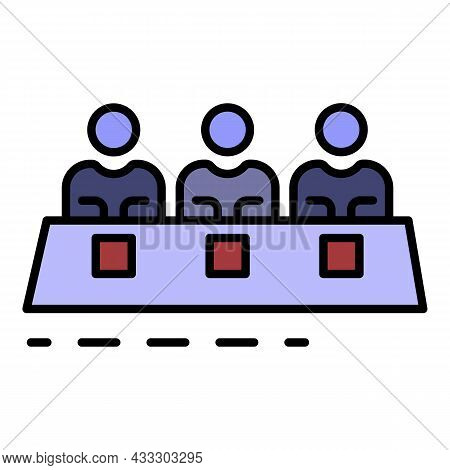 Teamwork People Icon. Outline Teamwork People Vector Icon Color Flat Isolated