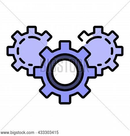Gear Teamwork Icon. Outline Gear Teamwork Vector Icon Color Flat Isolated
